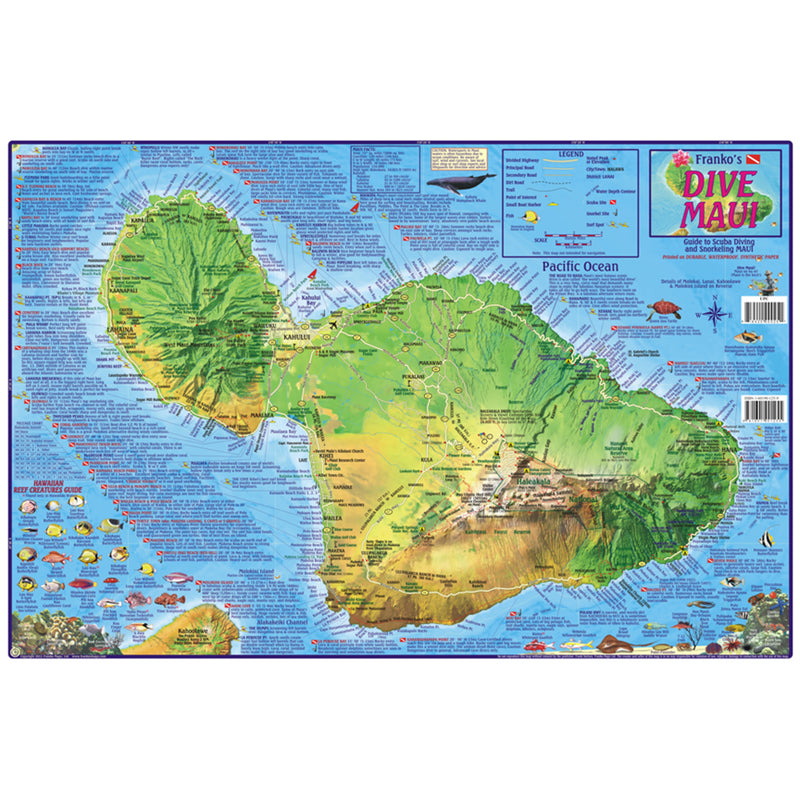 Franko Maps Hawaii Maui Dive Creature Guide 14 X 21 Inch