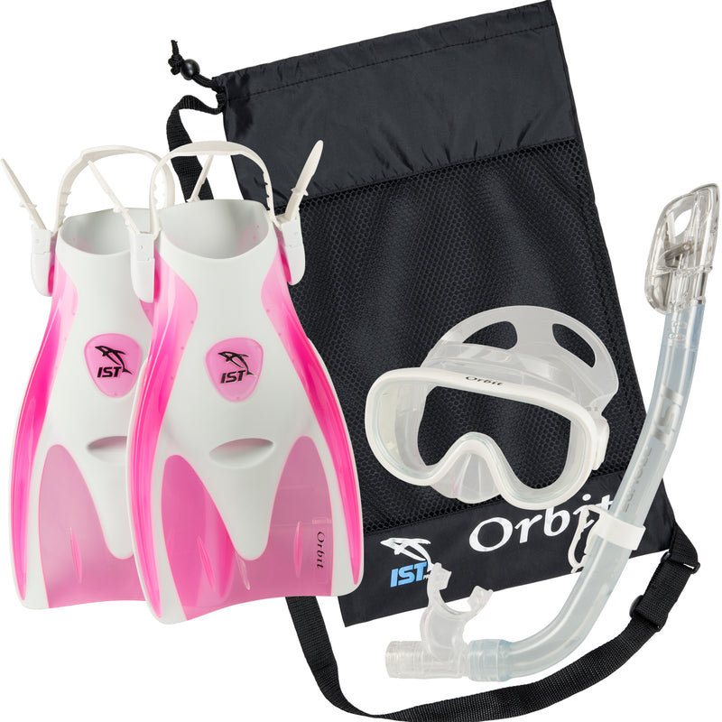 IST Orbit Premium Snorkel Set: Fins, Mask, Dry Top Snorkel and Bag