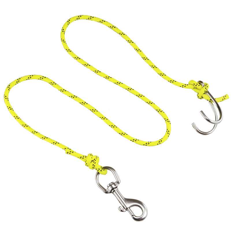IST JL-5 Double Drift Hook, Reef Hook with 5' Braided Nylon Rope and Clip