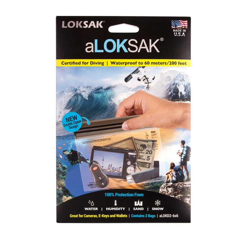 2 aLOKSAK Airtight Waterproof Pouch Clear Dry Bags