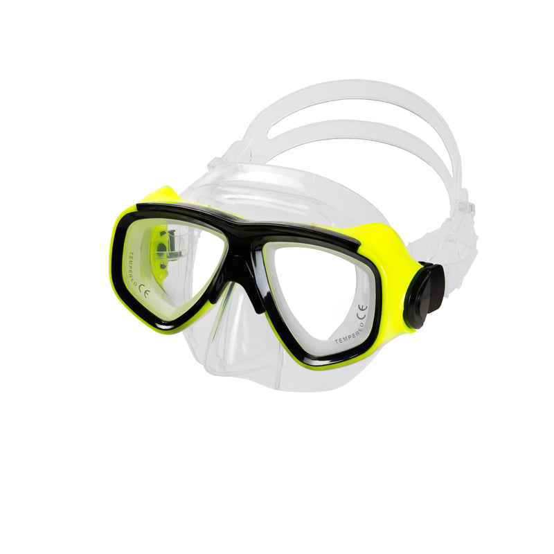IST M80 Yellow Search Twin Lens Scuba Diving Snorkeling Mask with Custom Rx Lens Option