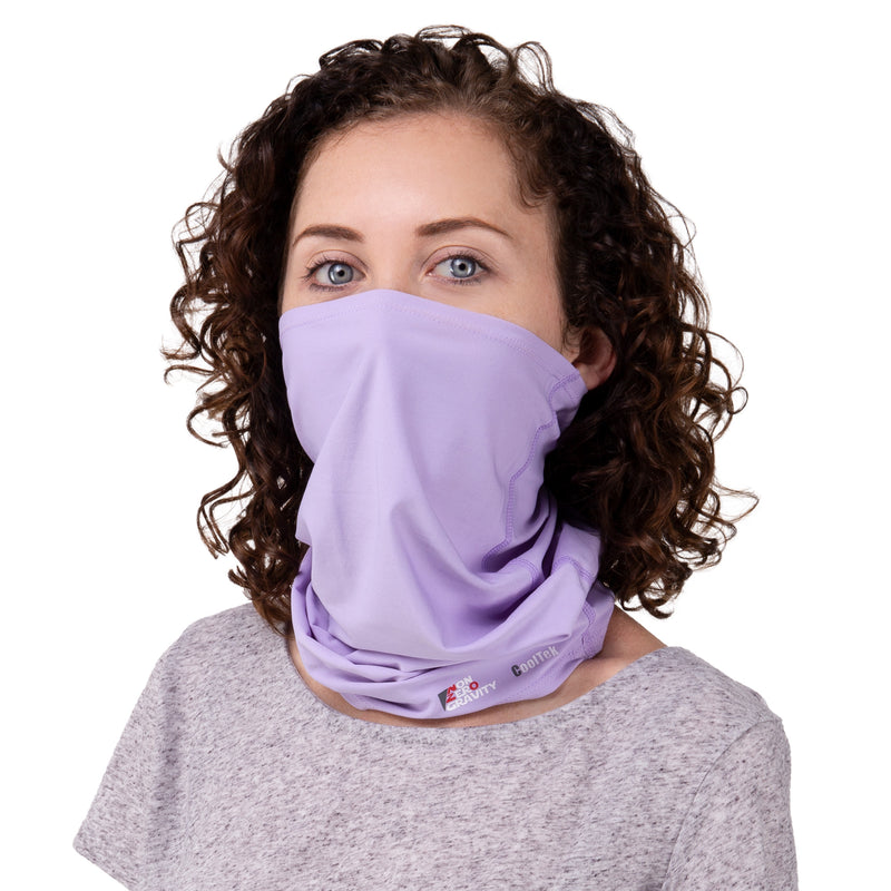 a lavender spandex neck gaiter for summer