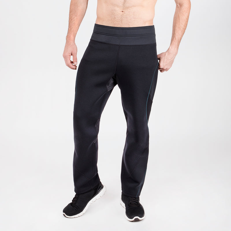 men's black neoprene sauna pants with blue stitching