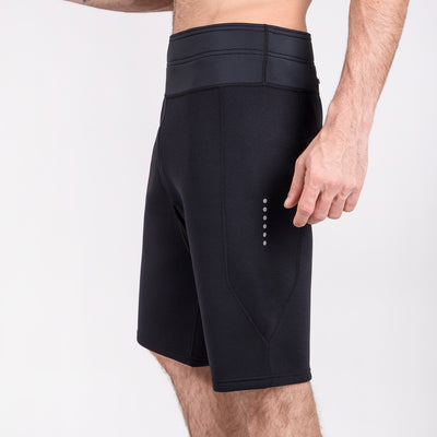Black neoprene workout shorts for men