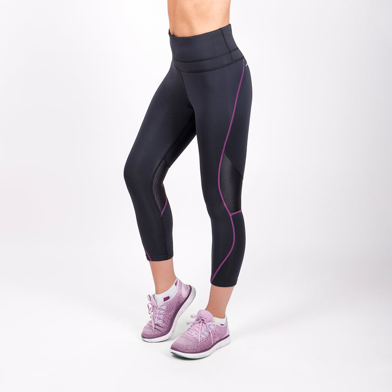 black workout leggings with purple stitching for women