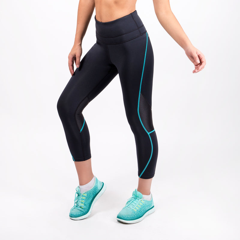 black workout leggings with turquoise stitching for women