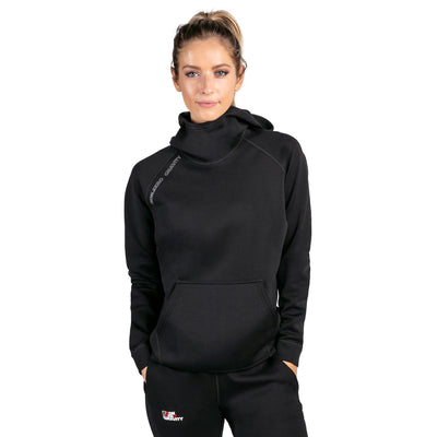 a black workout hoodie made of neoprene for weight loss and muscle performance