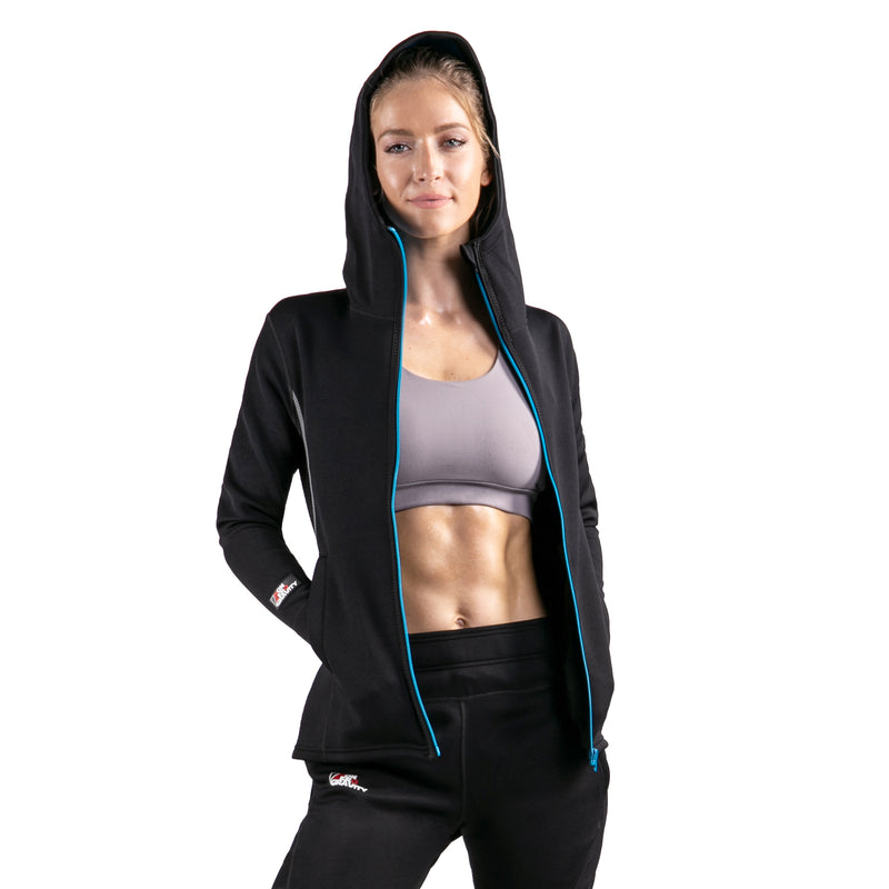 black neoprene sauna suit jacket for women