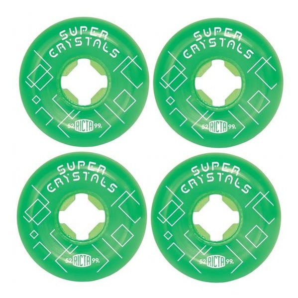 Ricta 52mm Super Crystals Green 99a Skateboard Wheels (4 Pack)