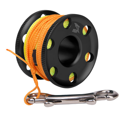 Premium Anodized Aluminum Finger Reel with 45 Foot Line and Bolt Snap