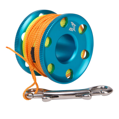 IST Premium Anodized Aluminum Finger Reel with 100 Foot Line and Bolt Snap