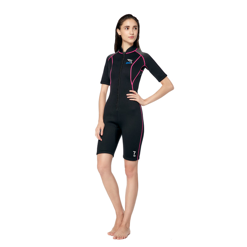 IST 3mm Nylon II Neoprene Front Zip Rental Shorty with Super Stretch Panels - Women