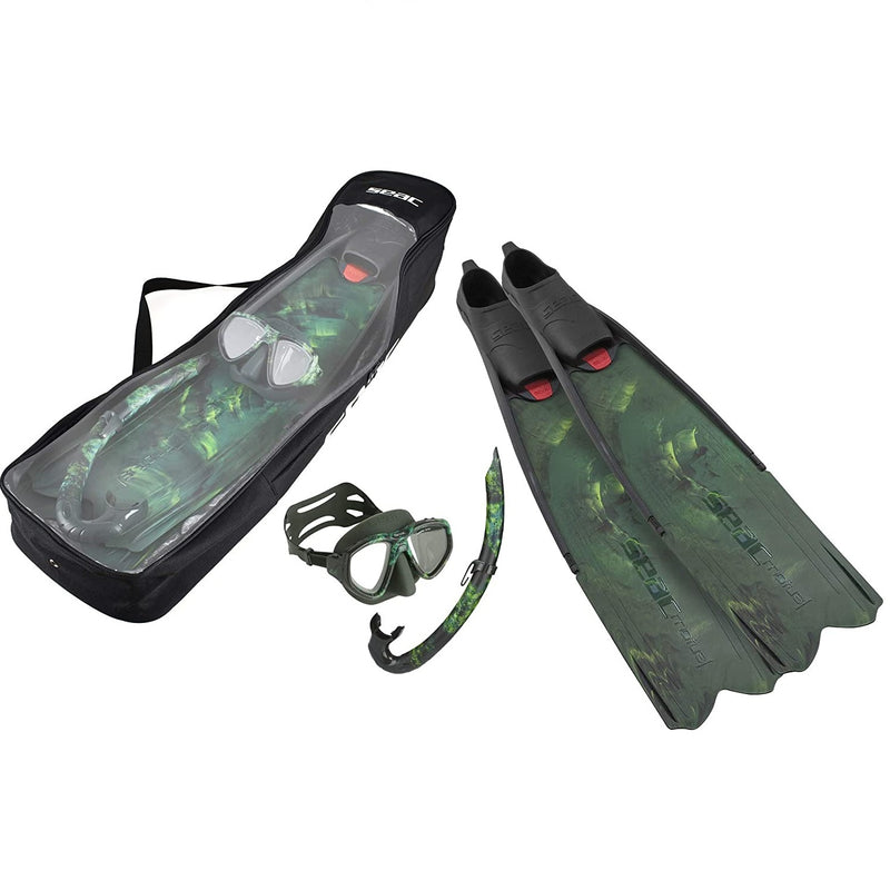 SEAC Motus Tris, Freediving and Spearfishing Set with Motus Long fins, One Diving mask and Jet Snorkel, Shoulder Bag Included