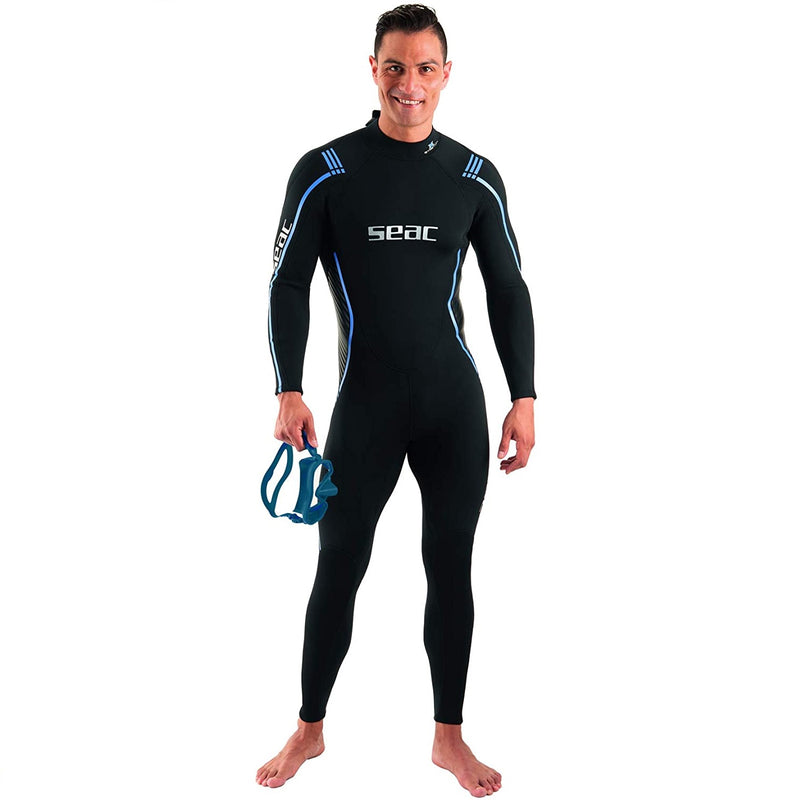 Seac Feel Man, one-Piece Ultra-Elastic 3 mm Neoprene Wetsuit with Back Zipper for Diving