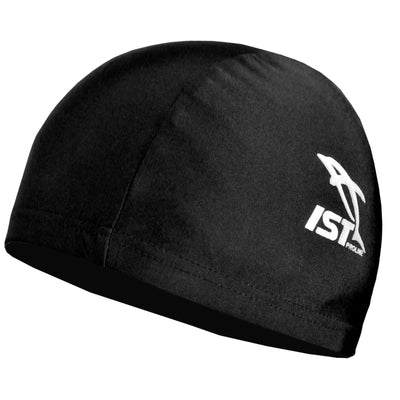black spandex swim cap