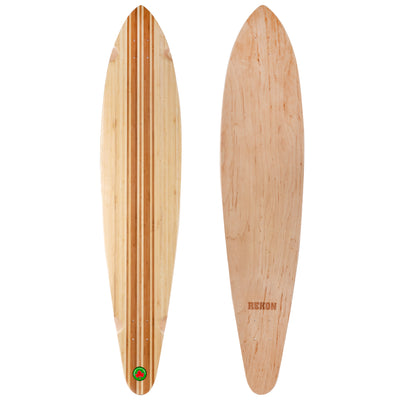 9.75 inch longboard with bamboo bottom layer and natural wood