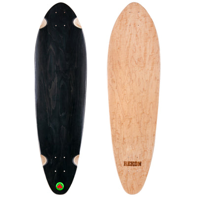 9.75 inch black natural Canadian maple longboard deck
