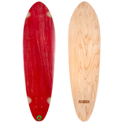9.75 inch red natural Canadian maple longboard deck