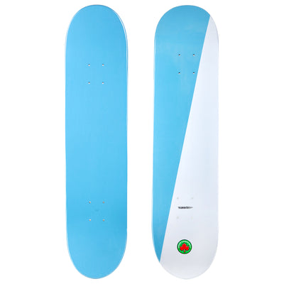 2-Tone Turbo Light Blue and White Skateboard Deck