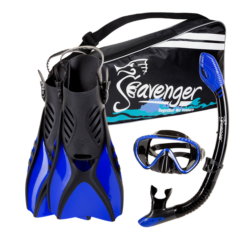 Seavenger Advanced Snorkeling Set with Panoramic Mask, Trek Fins, Dry Top Snorkel & Gear Bag