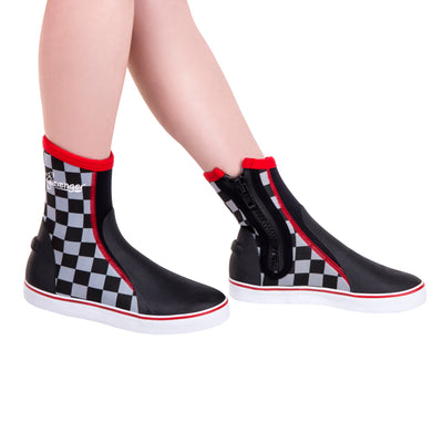 tall neoprene scuba diving shoes with a black and white checkerboard pattern