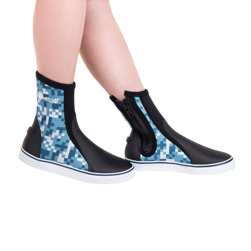 tall neoprene scuba diving shoes with a blue digital pattern