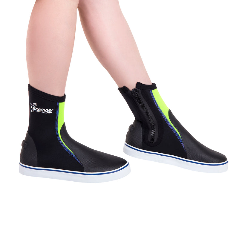 tall neoprene scuba diving shoes with a neon yellow panel and blue stitching