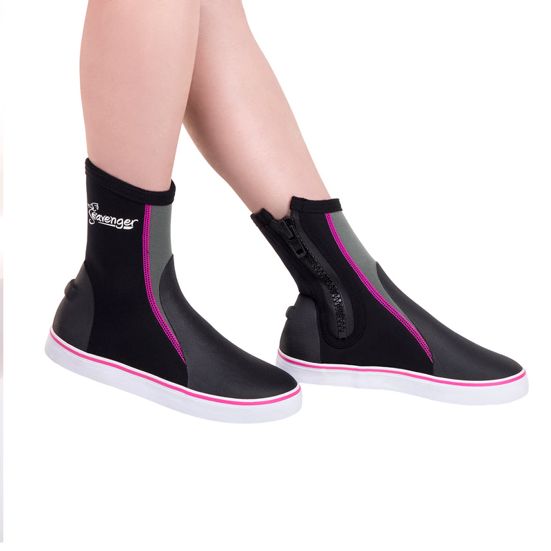tall black scuba diving shoes with pink stitching