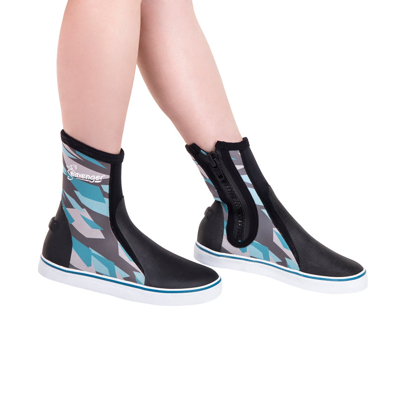 tall neoprene scuba diving shoes with a blue geometric pattern