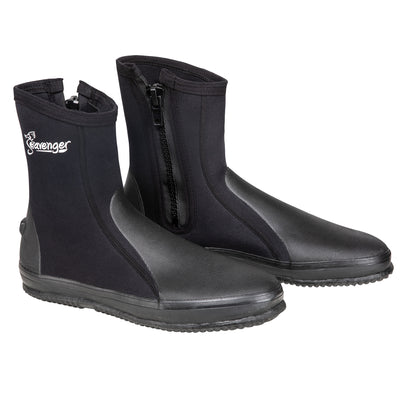 tall black dive booties with a vulcanized rubber sole