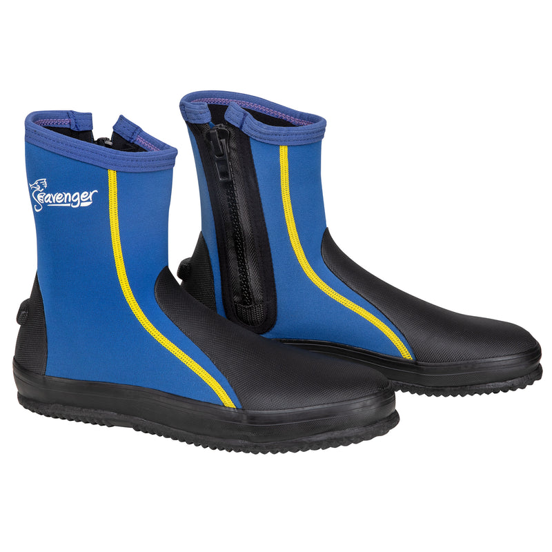 tall blue dive booties with a vulcanized rubber sole