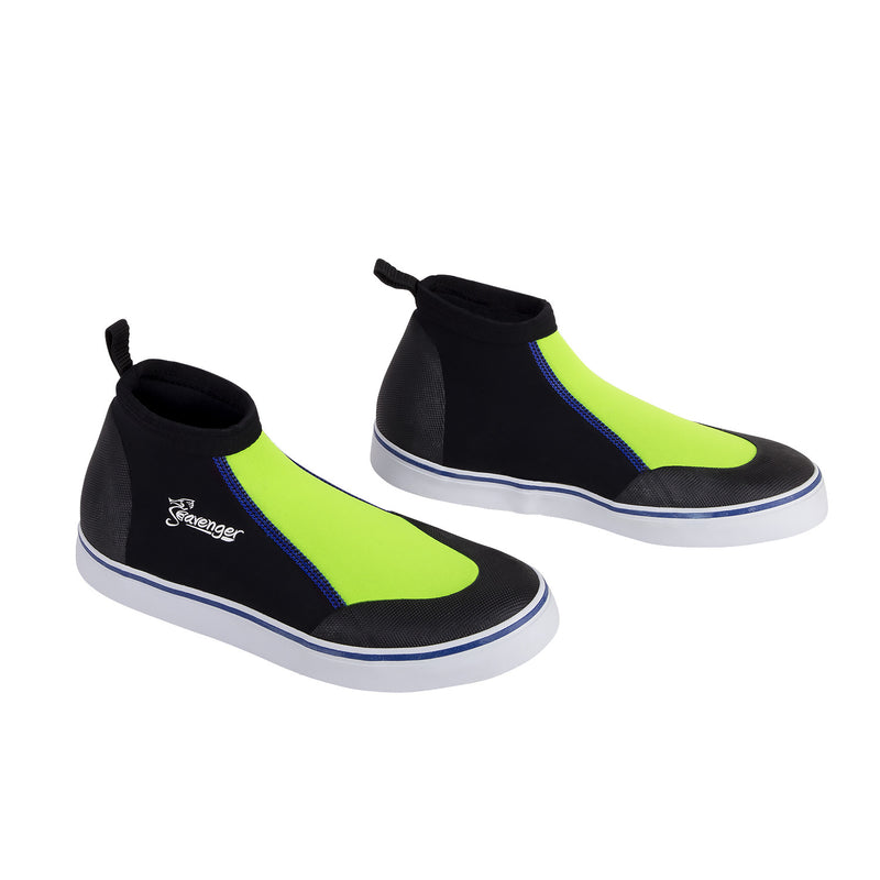 short slip on scuba diving shoes with a neon yellow panel