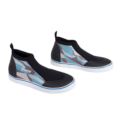 short slip on scuba diving shoes with a blue geometric pattern
