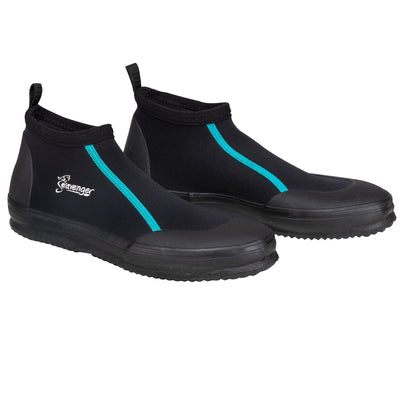 short black dive booties with teal stitching