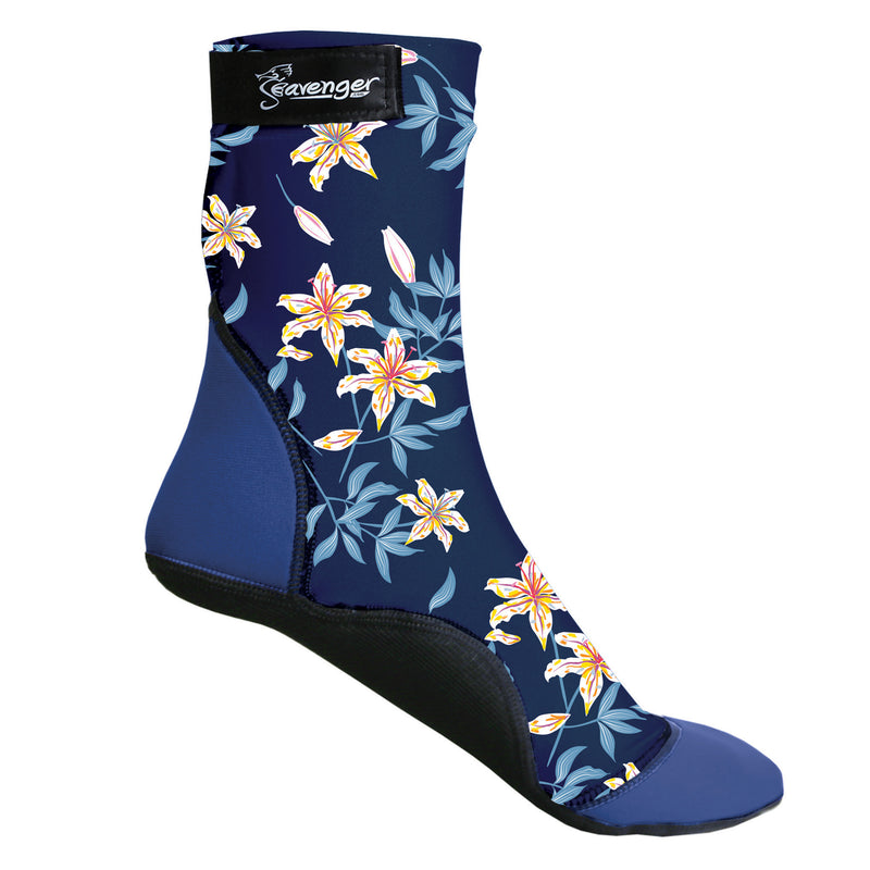 tall beach socks with a dark blue floral pattern