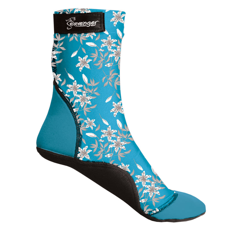 tall beach socks with a light blue floral pattern