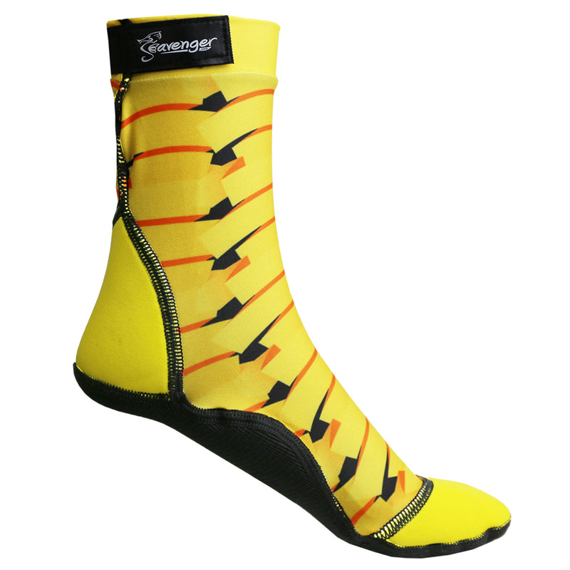 Tall beach socks with a yellow ribbon pattern