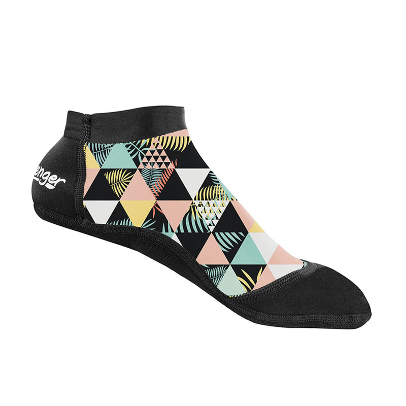 short beach socks with a geometric palm pattern