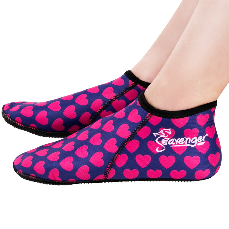 3mm pink hearts neoprene socks