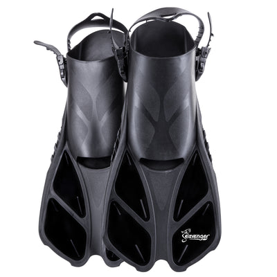 Short black snorkeling fins with an adjustable heel strap