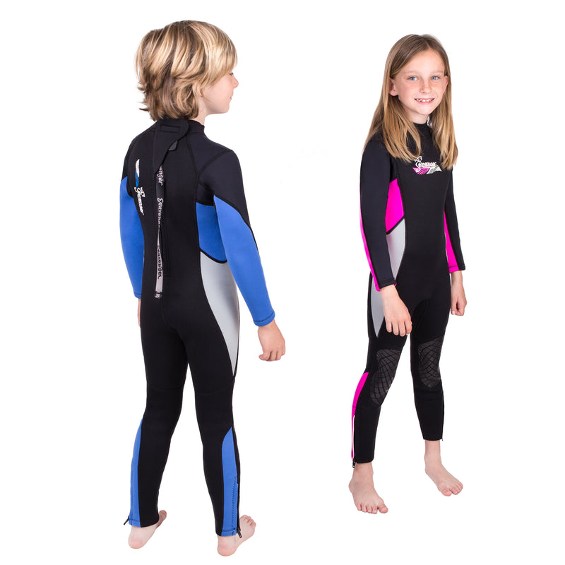 Seavenger Scout 3mm Kids Full Body Wetsuit with Knee Pads for Surfing, Snorkeling, Swimming