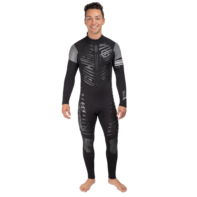 A men's Black Remix full length neoprene wetsuit with long sleeves and long back zipper with rubber knee panels and shoulder panels