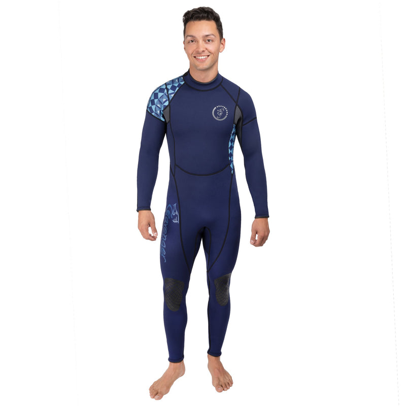 A men's geometric blue full length neoprene wetsuit with long sleeves and long back zipper with rubber knee panels and shoulder panels