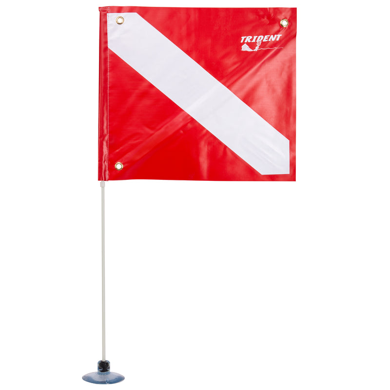 Trident 14 x 16 Inch Diver Down Flag with Suction Cup Mount Pole