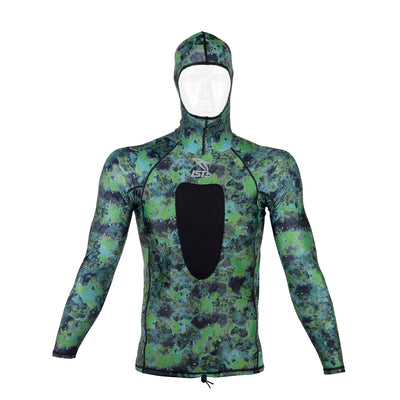 IST Hooded Spearfishing Rashguard with Speargun Loading Pad, 2mm Neoprene & Stretch Sleeves