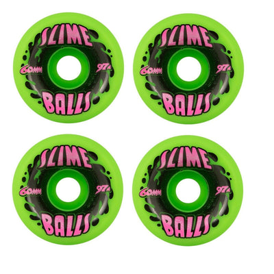 Santa Cruz Slime Balls 60mm 97A Splat Vomits Neon Green Skateboard Wheels