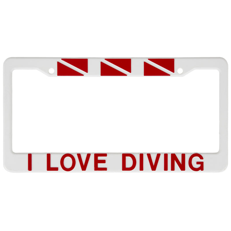 Trident White Plastic Auto License Plate Frame: I Love Diving