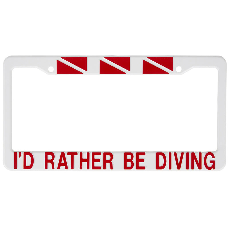 Trident White Plastic Auto License Plate Frame: I'd Rather Be Diving