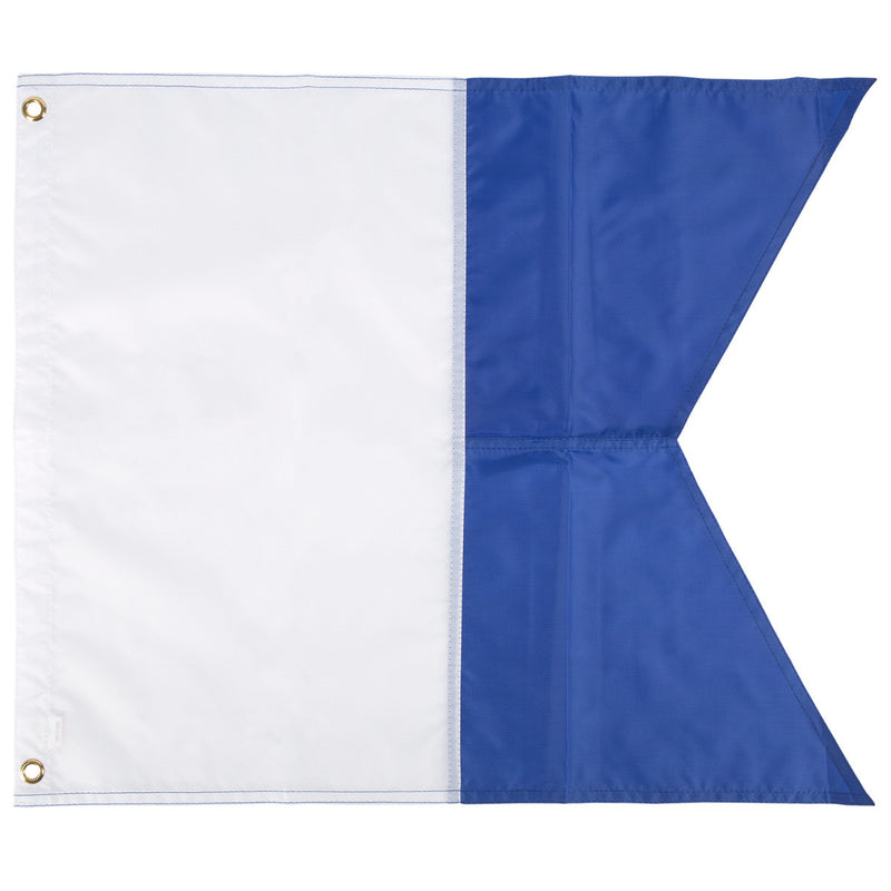 Trident 20 x 24 Inch Blue and White Alpha Flag, Multi Panel Construction