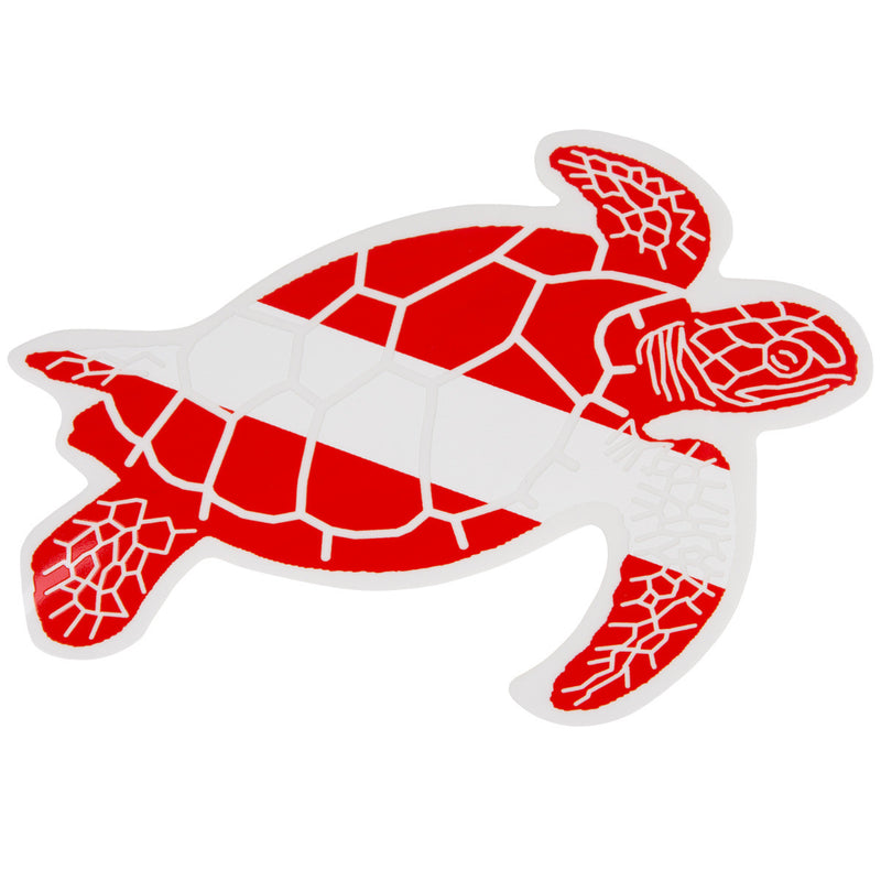 Graphic Ocean Large Die Cut SCUBA Sticker: 8 x 5.5 Inch, Swimming Turtle